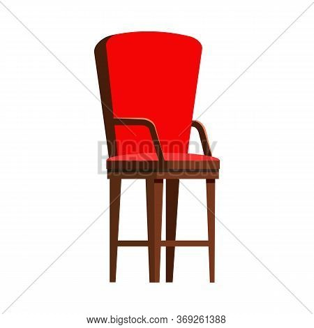 Red Wooden Chair Flat Icon. Seat, Arm Chair, Kitchen Chair. Chairs Concept. Illustration Can Be Used