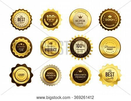Premium Quality Medals Set. Golden Labels, Gold Badges, Best Product Stamp, Guarantee Seal Circle. F