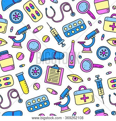 Seamless Pattern With Doodle Colored Hepatitis Medical Icons Including Liver, Microscope, Syringe, T