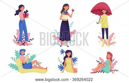 Young Woman Walking And Sitting Reading Book With Floral Twigs And Branches Behind Vector Illustrati