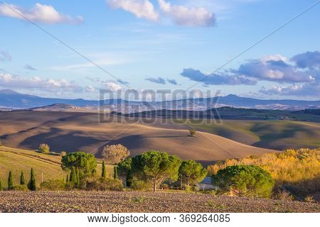 Scenic Hills In The Rays Of The Setting Sun In The D'orcia Valley. Autumn Landscape In Tuscany, Ital