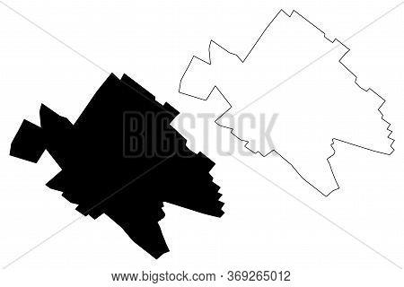 Yazd City (islamic Republic Of Iran, Persia, Yazd Province) Map Vector Illustration, Scribble Sketch