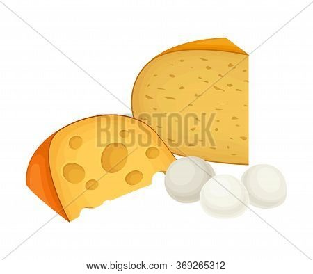 Slab Of Cheese And Eggs Isolated On White Background Vector Composition