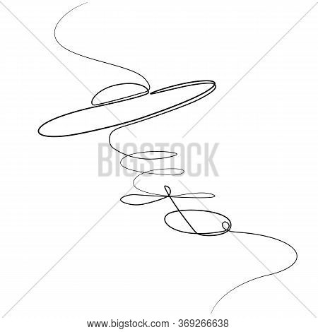 Unidentified Flying Object Drawn By A Continuous Line By Hand. Isolated Stock Vector Illustration.