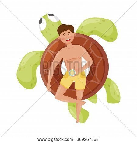 Smiling Man Character Floating On Rubber Turtle Shaped Swim Tube In Swimming Pool Vector Illustratio