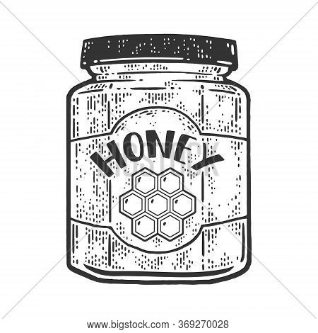Jar Of Honey Sketch Engraving Vector Illustration. T-shirt Apparel Print Design. Scratch Board Imita