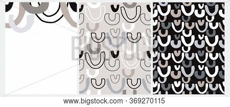 Cute Seamless Geometric Vector Patterns And Layout. Free Hand Arcs Isolated On A Light Gray And Blac