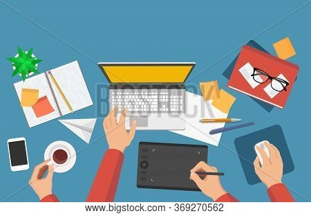 Flat Vector Illustration Of Graphics Or Illustrators Workplace With Laptop, Graphic Tablet, Notebook