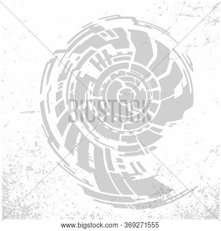 Nautilus Shell Spiral Shape Logo. Sketch Abstract To Create Distressed Effect.