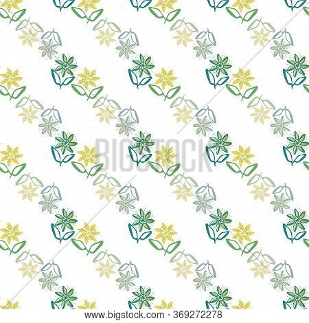 Modern Hand Drawn Flowers Seamless Vector Pattern Background. Diagonal Rows Of Painterly Flowers Wit