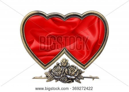 Heart Picture Frame, Valentines Picture Frame On White Background