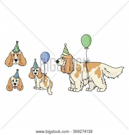 Cute Cartoon Cocker Spaniel Dog Party Set Vector Clipart. Pedigree Kennel Dog Lovers. Purebred Domes