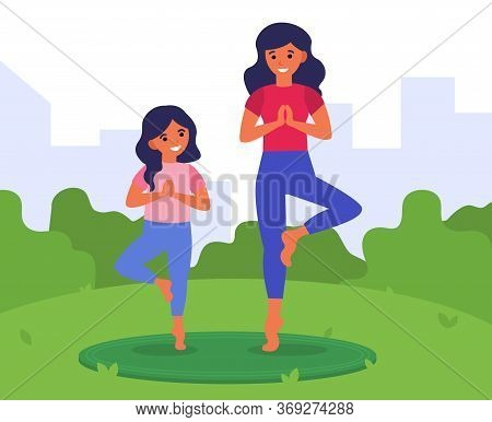 Healthy Lifestyle, Fitness For Family, Leisure Concept. Mother And Daughter Training Outdoors Togeth