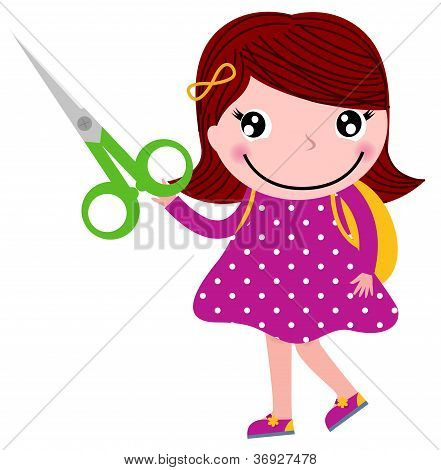 Creative Girl With Scissors Isolated On White