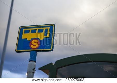 Bus Stop Sign In Reykjavik, Iceland. Modern Public Transport In The Big City. Bus Stop In The City S