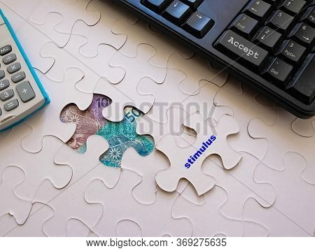 Conceptual Economic Stimulus By Malaysian Government During Virus Outbreak Or Crisis.  Jigsaw Puzzle