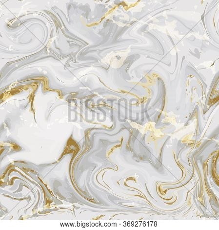 Realistic Marble Gold And White Texture Seamless Background. Abstract Golden Glitter Marbling Seamle