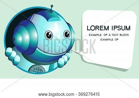 Vector. Funny Illustration Of A Cute Robot That Looks Out Of The Window And Gives Valuable Advice. S