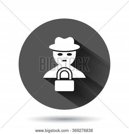 Fraud Hacker Icon In Flat Style. Spy Vector Illustration On Black Round Background With Long Shadow.