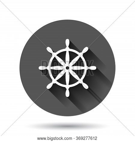 Helm Wheel Icon In Flat Style. Navigate Steer Vector Illustration On Black Round Background With Lon