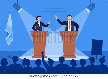 Man And Woman Candidates Are Discussing On Stage. Debates Concept. Candidates Speech In Front Of The