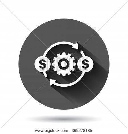 Money Optimization Icon In Flat Style. Gear Effective Vector Illustration On Black Round Background