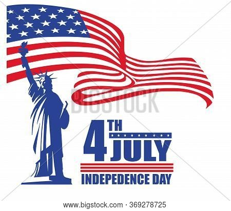 4th Of July, Banner Designed For Websites, For Printing On Documents, Brochures And Advertising Fold
