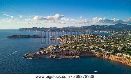 Aerial View Coastline Near Port Adriano, Located Just Below The Cliffs Of The Small Neighborhood Of
