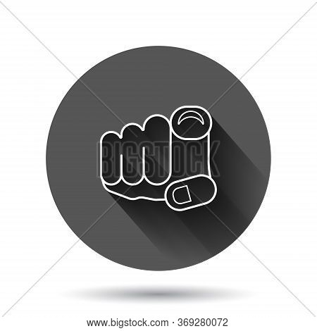 Finger Point Icon In Flat Style. Hand Gesture Vector Illustration On Black Round Background With Lon