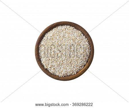 Barley Groats On A White Background Top View. Raw Crushed Barley Grains For Making Porridge. Heap Of