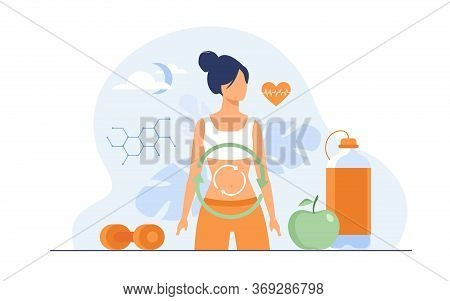Metabolic Process Of Woman On Diet. Digestion System, Food Energy, Hormone System Flat Vector Illust