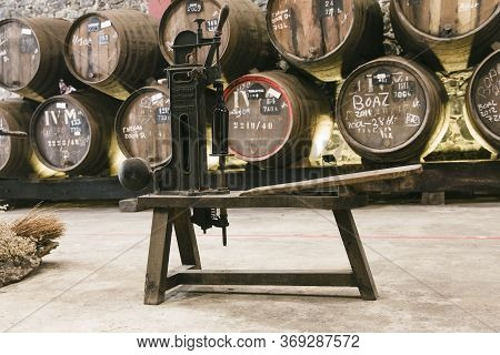 Funchal, Portugal - February 18, 2020: Antique French Wine Corker At Pereira D'oliveira Winery In Fu