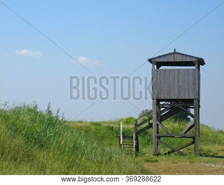A Small Wooden Disused Bird Observation Point Located Within The Po Estuary In Italy.