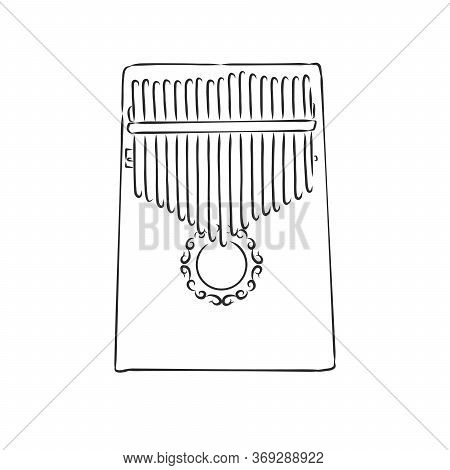 Thump Piano Or Kalimba Mbira Or Thumb Piano Isolated On White Vector Cartoon Icon Illustration. Afri