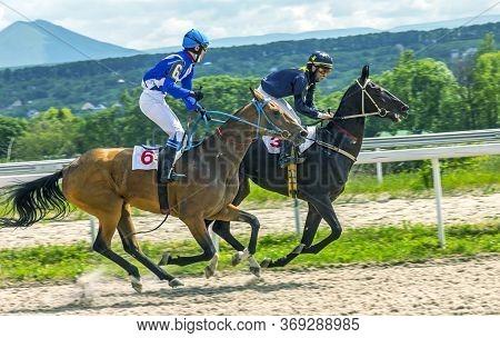 Pyatigorsk,russia - May 31,2012:finish Horse Race For Of The Ghoul Prize Of Pyatigorsk Hippodrome.ah
