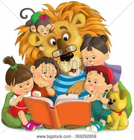 Children's Illustration. Friends Are Reading An Interesting Book. Big Kind Lion With A Monkey On His