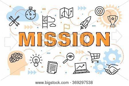 Vector Illustration. Banner Of Business Mission Statement. Concept Of Word Mission For Website