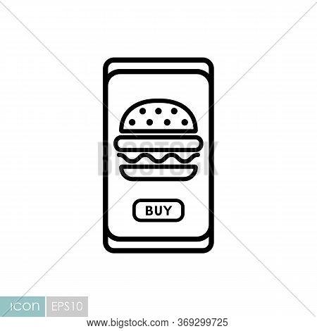 Fast Food Delivery Service Vector Icon. Burger Sign. Mobile App Order Food Online Website.