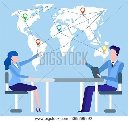 People Working With International Partners Worldwide Vector, Man And Woman Pointing On World Map. Em
