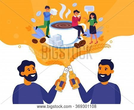 Male Friends Discussing Colleagues And Drinking Beer. Bearded Men With Bottles Talking About Coffee