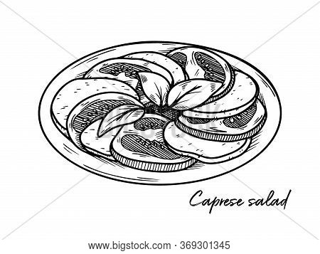 Caprese Salad Isolated On A White Background. Sketch Italian Dishes. Vector Illustration In Sketch S