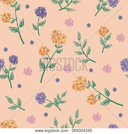 Delicate Twigs With Small Flowers And Leaves. Vector Seamless Pattern. Vintage Seamless Pattern With