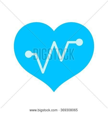 Light Blue Hearts Shape With Beat Pulse Line Isolated On White, Heart Wave Icon Flat, Shaped Heart A
