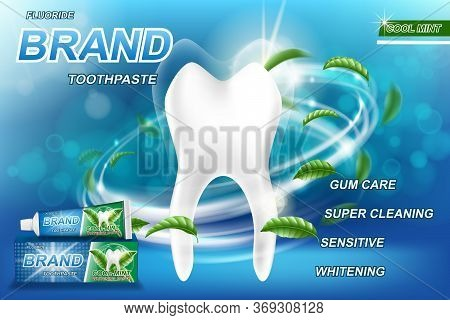 Mint Toothpaste Concept Ads, Isolated On Blue. Tooth Model And Product Package Design For Toothpaste