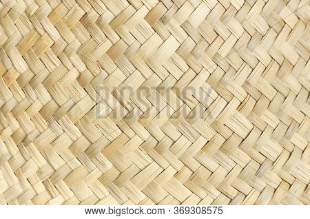 Texture Of Straw Weaving Closeup. Straw Wicker Basket. Fashionable Bamboo Basket, Stylish Interior I
