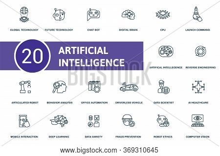 Artificial Intelligence Icon Set. Collection Contain Digital, Brain, Cpu, Future, Technology, Global