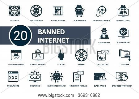 Banned Internet Icon Set. Collection Contain Black, Market, Deep, Web, Terrorism, Hacking, Data, Lea
