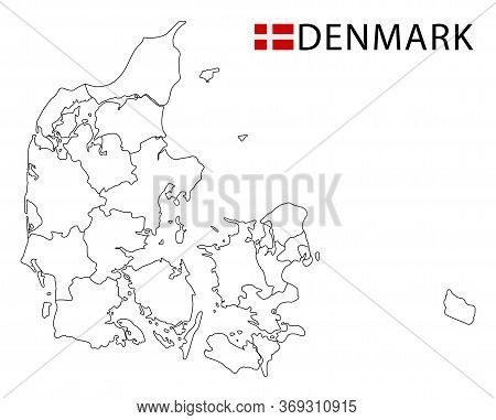 Denmark Map, Black And White Detailed Outline Regions Of The Country.