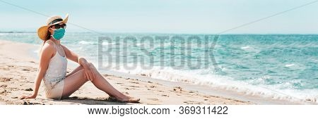 Woman In Sunglasses And Straw Hat Wearing Medical Mask At Beach, New Normal Rules, Web Banner. Life