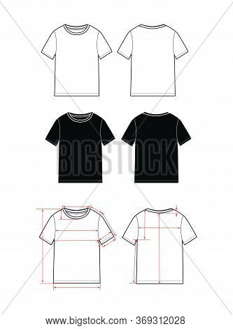Women's Simple T-shirt Design. Apparel Template, Fashion Flat Sketch Vector. T Shirt Scheme With Arr